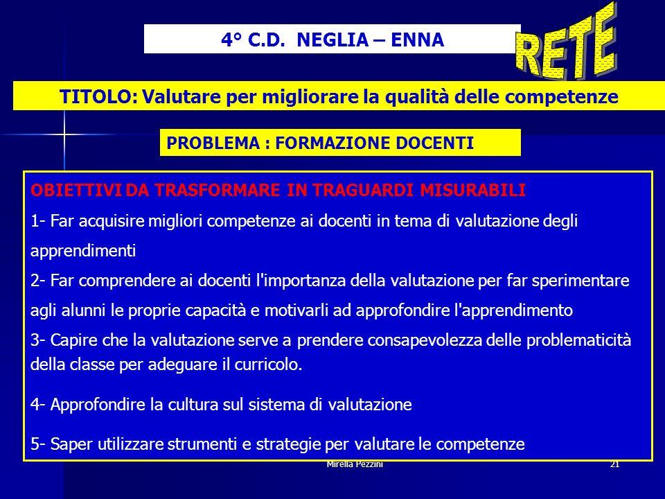 Mirella Pezzini21 TITOLO: Valutare per migliorare la qualità delle competenze 4° C.D.