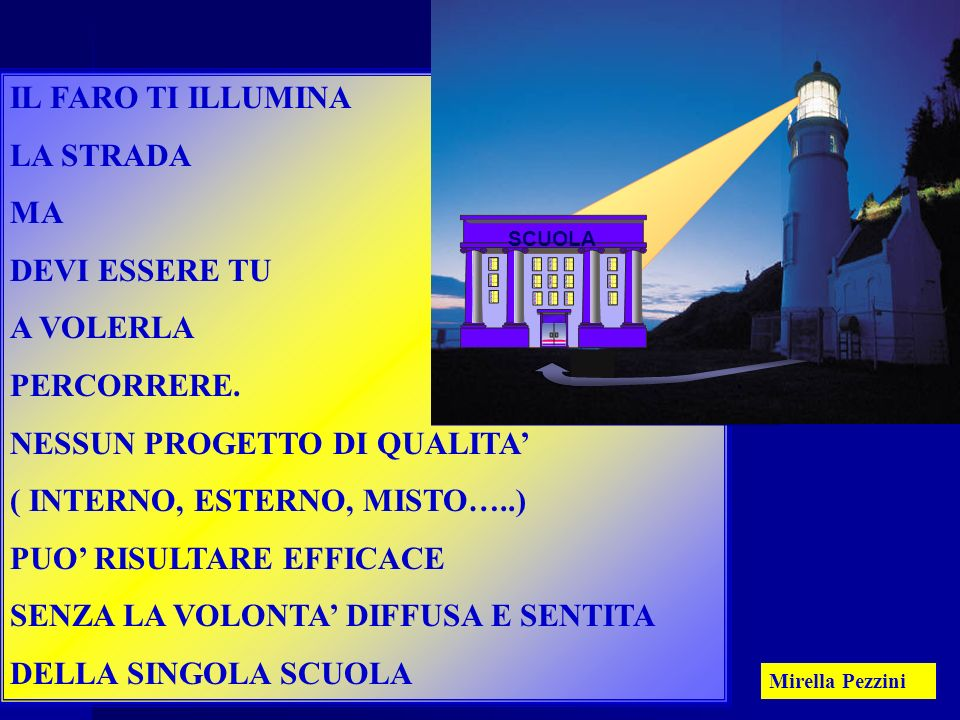 Mirella Pezzini43 IL FARO TI ILLUMINA LA STRADA MA DEVI ESSERE TU A VOLERLA PERCORRERE.
