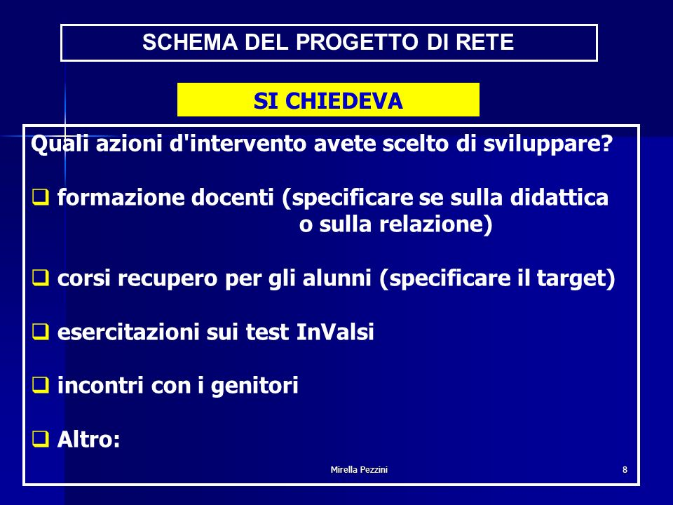 Mirella Pezzini8 SCHEMA DEL PROGETTO DI RETE Quali azioni d intervento avete scelto di sviluppare.