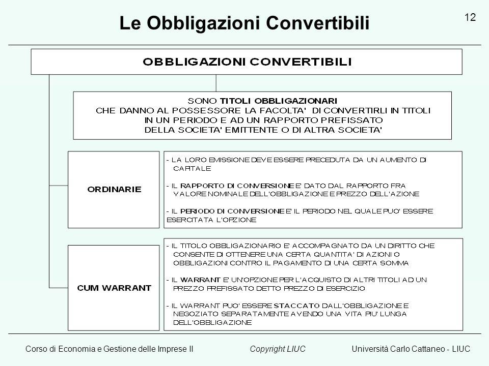 Corso di Economia e Gestione delle Imprese IIUniversità Carlo Cattaneo - LIUCCopyright LIUC 12 Le Obbligazioni Convertibili