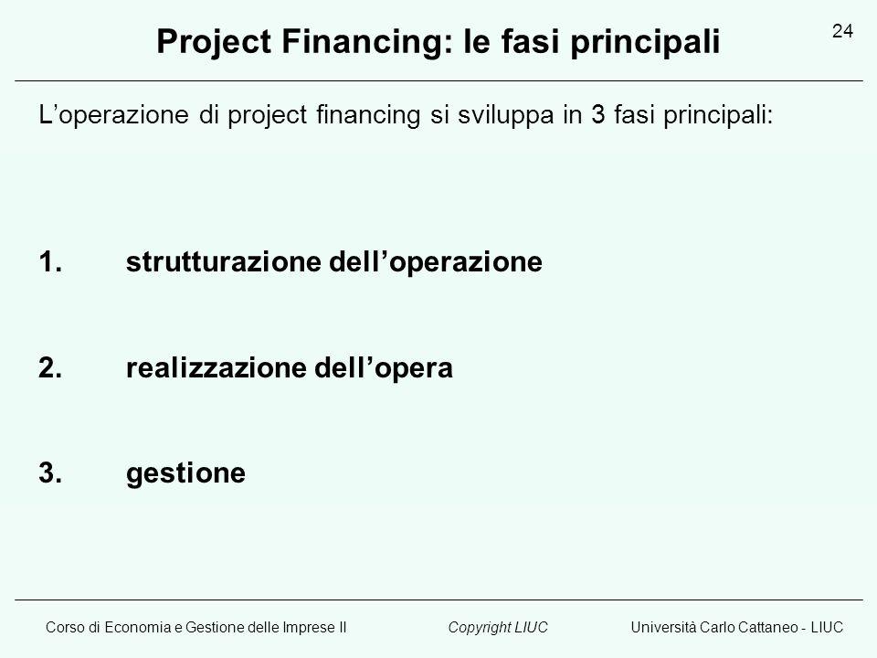 Corso di Economia e Gestione delle Imprese IIUniversità Carlo Cattaneo - LIUCCopyright LIUC 24 Project Financing: le fasi principali Loperazione di project financing si sviluppa in 3 fasi principali: 1.strutturazione delloperazione 2.realizzazione dellopera 3.gestione