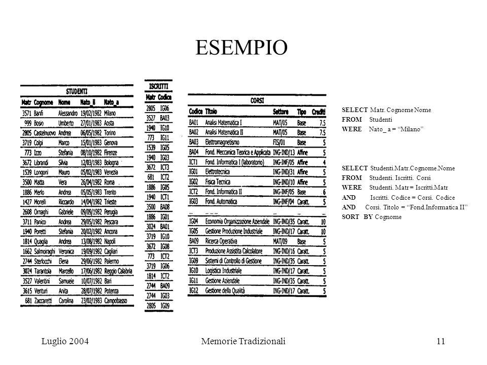 Luglio 2004Memorie Tradizionali11 ESEMPIO SELECT Matr.