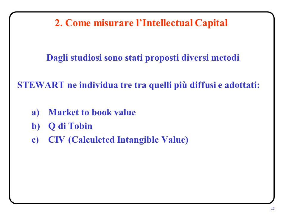 12 Dagli studiosi sono stati proposti diversi metodi STEWART ne individua tre tra quelli più diffusi e adottati: a)Market to book value b)Q di Tobin c)CIV (Calculeted Intangible Value) 2.