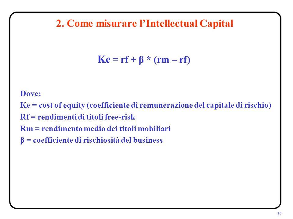 16 Ke = rf + β * (rm – rf) 2.