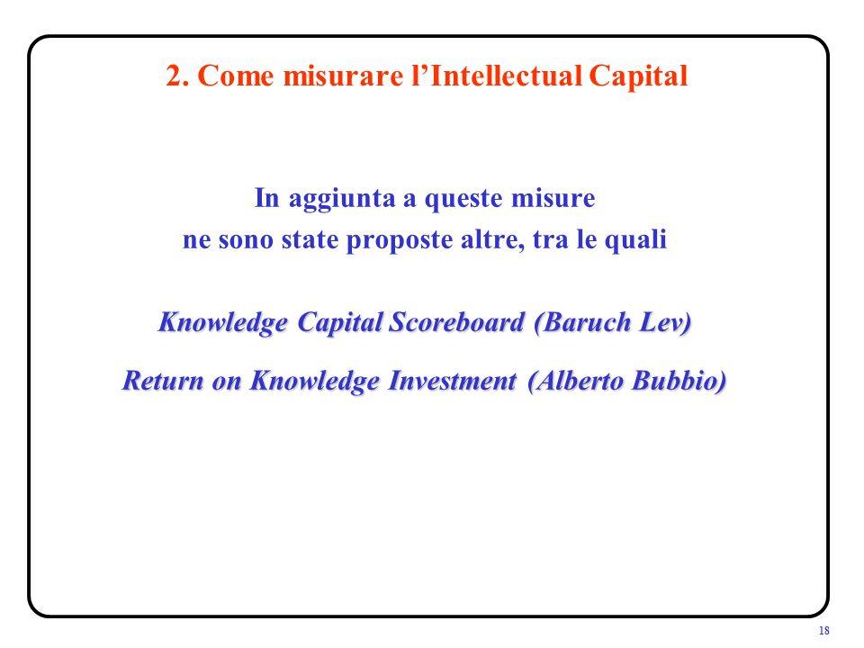18 In aggiunta a queste misure ne sono state proposte altre, tra le quali Knowledge Capital Scoreboard (Baruch Lev) Return on Knowledge Investment (Alberto Bubbio) 2.