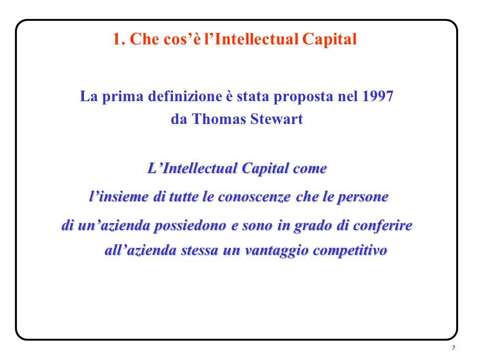 3 1. Che cosè lIntellectual Capital La prima definizione è stata proposta nel 1997 da Thomas Stewart LIntellectual Capital come linsieme di tutte le c