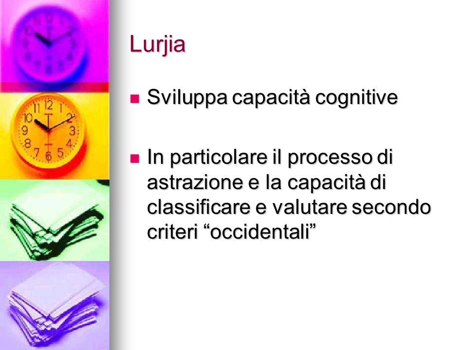 Lurjia Sviluppa capacità cognitive Sviluppa capacità cognitive In particolare il processo di astrazione e la capacità di classificare e valutare secon