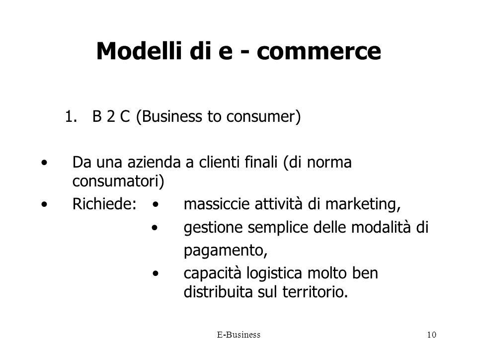 E-Business10 Modelli di e - commerce 1.B 2 C(Business to consumer) Da una azienda a clienti finali (di norma consumatori) Richiede: massiccie attività di marketing, gestione semplice delle modalità di pagamento, capacità logistica molto ben distribuita sul territorio.