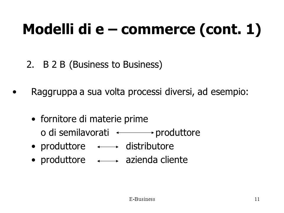 E-Business11 Modelli di e – commerce (cont.