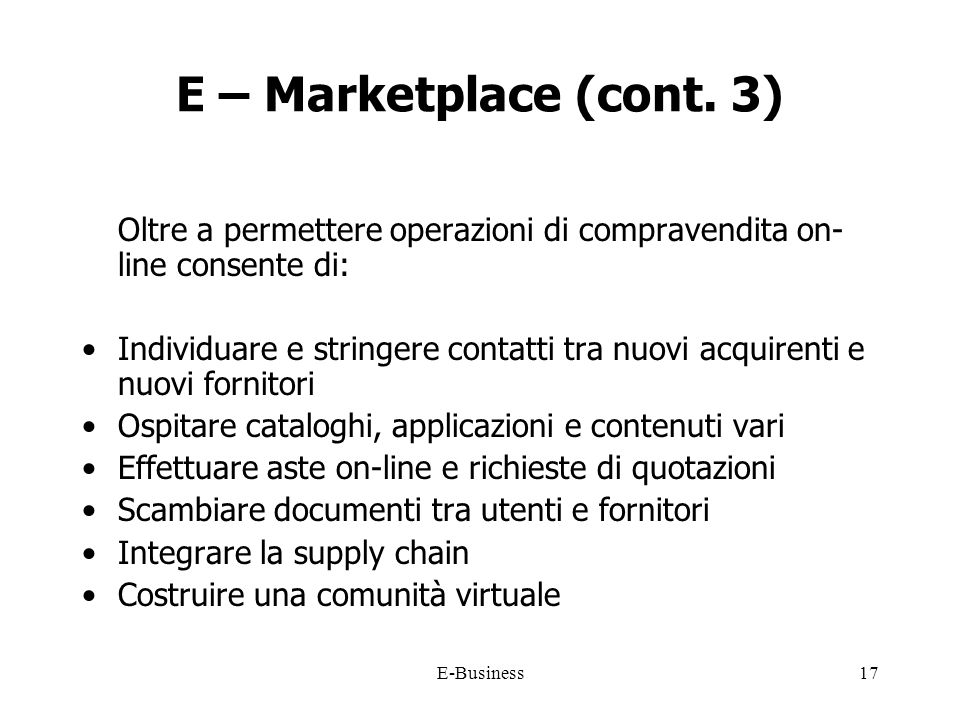 E-Business17 E – Marketplace (cont.