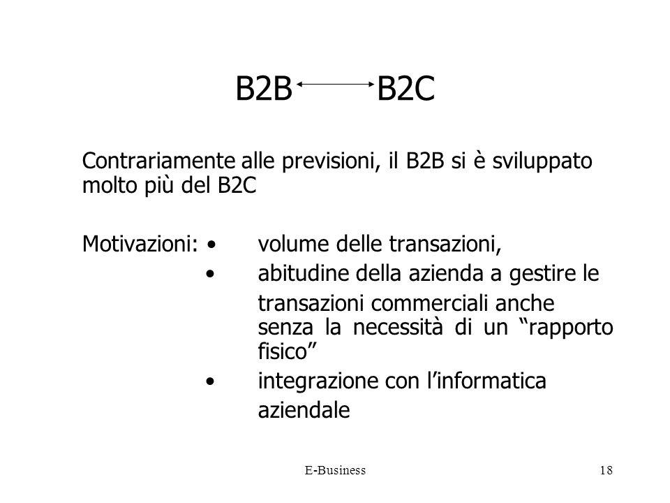 E-Business18 B2B B2C Contrariamente alle previsioni, il B2B si è sviluppato molto più del B2C Motivazioni: volume delle transazioni, abitudine della azienda a gestire le transazioni commerciali anche senza la necessità di un rapporto fisico integrazione con linformatica aziendale