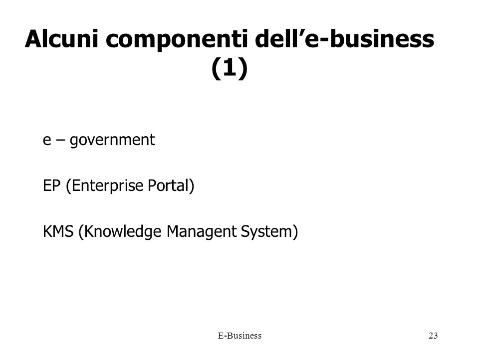 E-Business23 Alcuni componenti delle-business (1) e – government EP (Enterprise Portal) KMS (Knowledge Managent System)