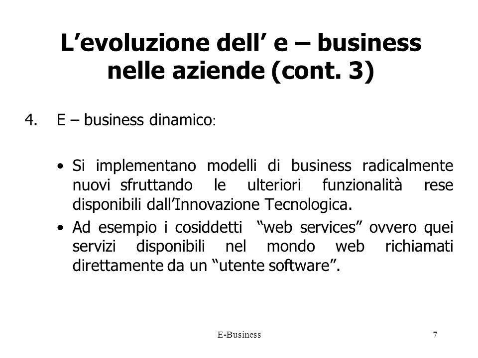 E-Business7 Levoluzione dell e – business nelle aziende (cont.