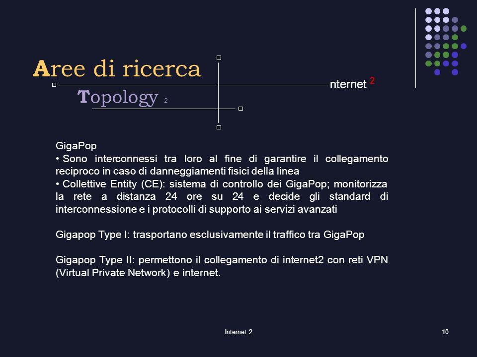 Internet 210 2 A ree di ricerca GigaPop Sono interconnessi tra loro al fine di garantire il collegamento reciproco in caso di danneggiamenti fisici della linea Collettive Entity (CE): sistema di controllo dei GigaPop; monitorizza la rete a distanza 24 ore su 24 e decide gli standard di interconnessione e i protocolli di supporto ai servizi avanzati Gigapop Type I: trasportano esclusivamente il traffico tra GigaPop Gigapop Type II: permettono il collegamento di internet2 con reti VPN (Virtual Private Network) e internet.
