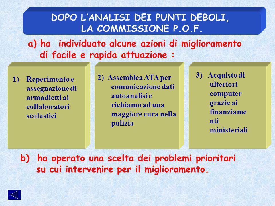 DOPO LANALISI DEI PUNTI DEBOLI, LA COMMISSIONE P.O.F.