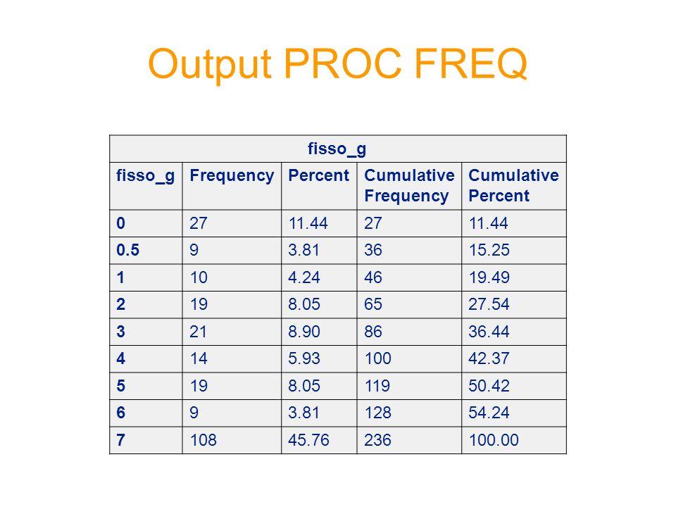 Output PROC FREQ fisso_g FrequencyPercentCumulative Frequency Cumulative Percent 02711.442711.44 0.593.813615.25 1104.244619.49 2198.056527.54 3218.90
