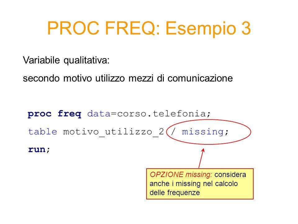 PROC FREQ: Esempio 3 proc freq data=corso.telefonia; table motivo_utilizzo_2 / missing; run; Variabile qualitativa: secondo motivo utilizzo mezzi di c