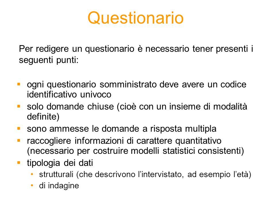 Questionario Per redigere un questionario è necessario tener presenti i seguenti punti: ogni questionario somministrato deve avere un codice identific