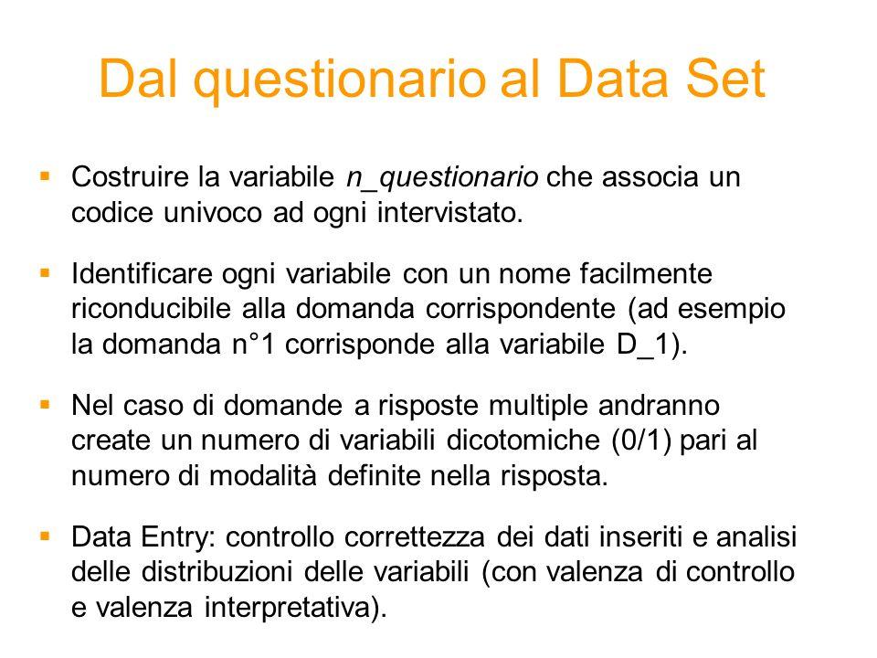 Dal questionario al Data Set Costruire la variabile n_questionario che associa un codice univoco ad ogni intervistato. Identificare ogni variabile con