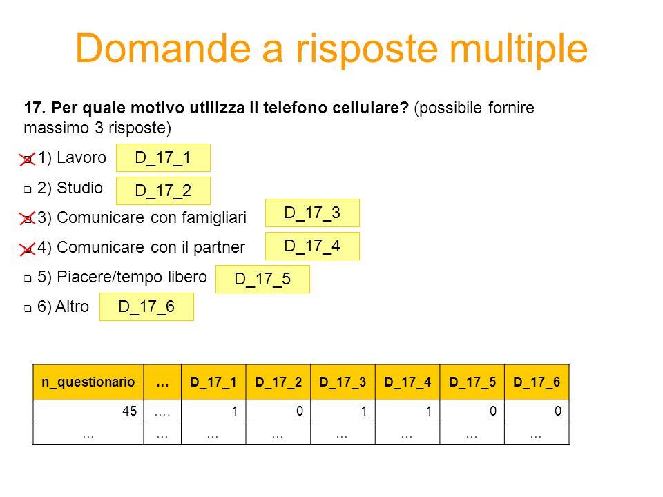 Esempio di questionario Obiettivo di analisi: studiare il comportamento di consumo del campione rilevato (dai 14 ai 32 anni) in relazione allutilizzo del servizio tariffa telefonica.