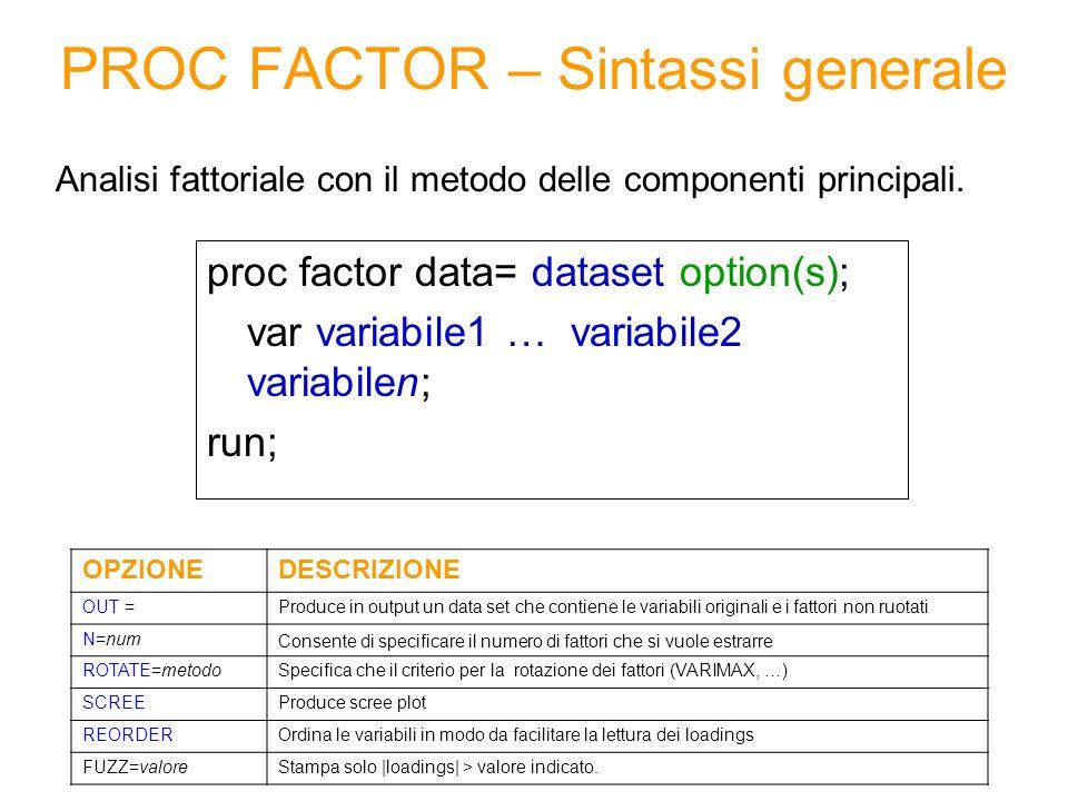 Soluzione (7/7) Varianza spiegata da ciascun fattore Totale Factor1Factor2Factor3 5.751.661.38 8.79 Varianza spiegata dai fattori: La % di varianza complessiva dei fattori ruotati rimane inalterata, mentre si modifica la % di varianza spiegata da ciascun fattore Varianza spiegata da ciascun fattore Totale Factor1Factor2Factor3 3.552.832.41 8.79 PRIMA DELLA ROTAZIONE DOPO LA ROTAZIONE