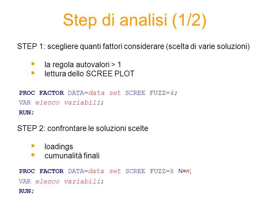 Step di analisi (1/2) STEP 1: scegliere quanti fattori considerare (scelta di varie soluzioni) la regola autovalori > 1 lettura dello SCREE PLOT STEP 2: confrontare le soluzioni scelte loadings cumunalità finali PROC FACTOR DATA=data set SCREE FUZZ=k; VAR elenco variabili; RUN; PROC FACTOR DATA=data set SCREE FUZZ=k N=n ; VAR elenco variabili; RUN;
