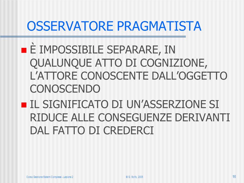 Corso Gestione Sistemi Complessi - Lezione 2 © G. Scifo, 2005 16 È IMPOSSIBILE SEPARARE, IN QUALUNQUE ATTO DI COGNIZIONE, LATTORE CONOSCENTE DALLOGGET