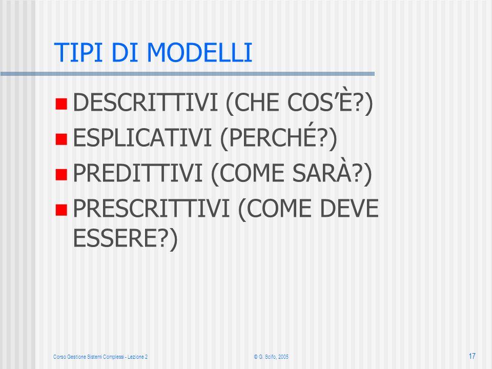 Corso Gestione Sistemi Complessi - Lezione 2 © G. Scifo, 2005 17 TIPI DI MODELLI DESCRITTIVI (CHE COSÈ?) ESPLICATIVI (PERCHÉ?) PREDITTIVI (COME SARÀ?)