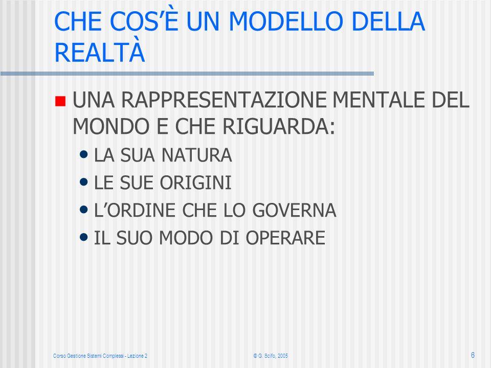 Corso Gestione Sistemi Complessi - Lezione 2 © G. Scifo, 2005 6 UNA RAPPRESENTAZIONE MENTALE DEL MONDO E CHE RIGUARDA: LA SUA NATURA LE SUE ORIGINI LO