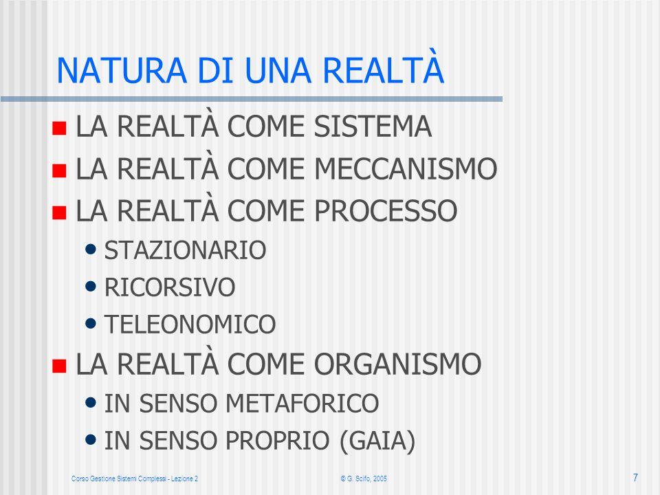 Corso Gestione Sistemi Complessi - Lezione 2 © G. Scifo, 2005 7 LA REALTÀ COME SISTEMA LA REALTÀ COME MECCANISMO LA REALTÀ COME PROCESSO STAZIONARIO R