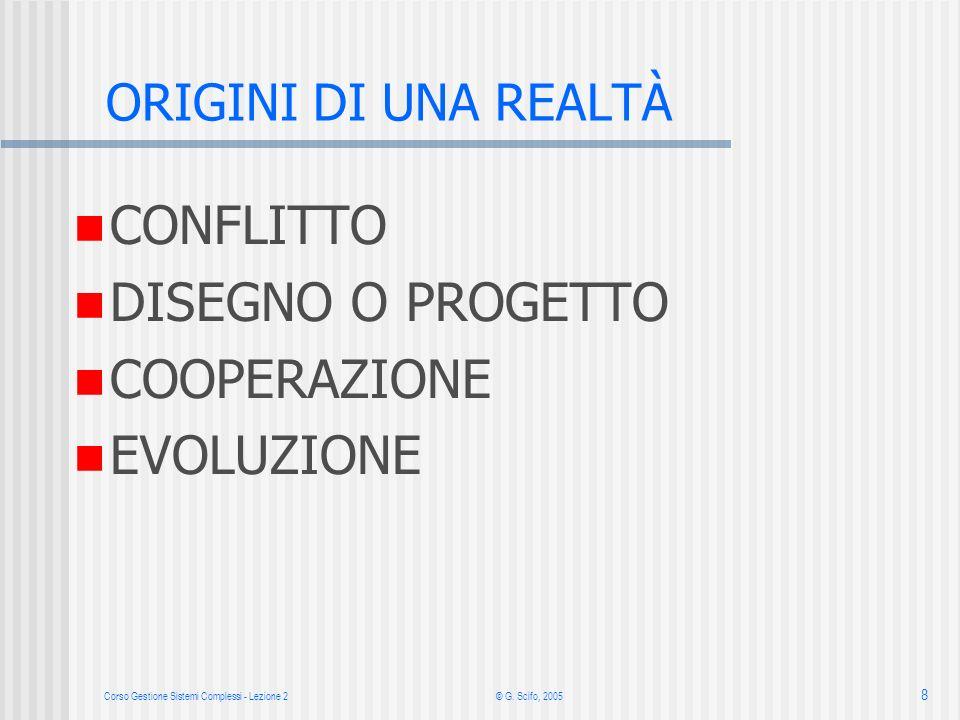 Corso Gestione Sistemi Complessi - Lezione 2 © G. Scifo, 2005 8 CONFLITTO DISEGNO O PROGETTO COOPERAZIONE EVOLUZIONE ORIGINI DI UNA REALTÀ