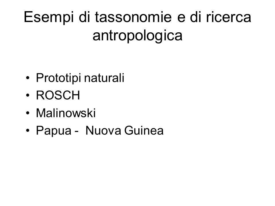 Esempi di tassonomie e di ricerca antropologica Prototipi naturali ROSCH Malinowski Papua - Nuova Guinea