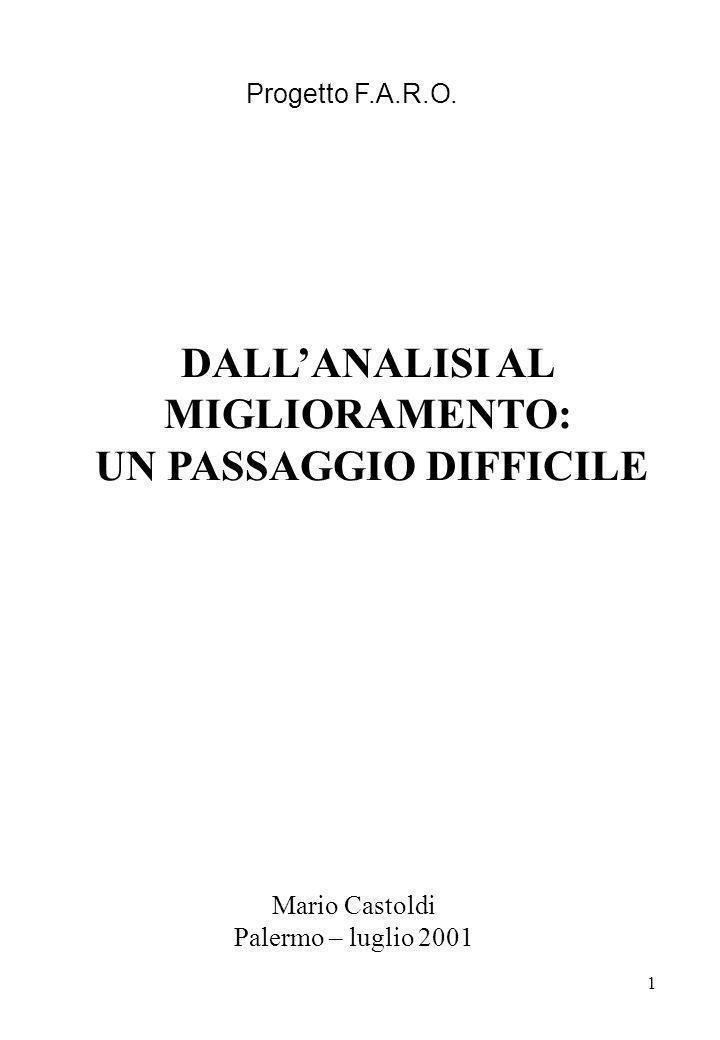 1 DALLANALISI AL MIGLIORAMENTO: UN PASSAGGIO DIFFICILE Mario Castoldi Palermo – luglio 2001 Progetto F.A.R.O.