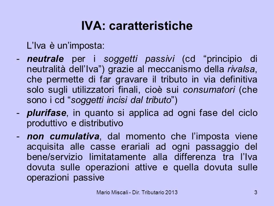 Mario Miscali - Dir. Tributario 201334 Operazioni non imponibili