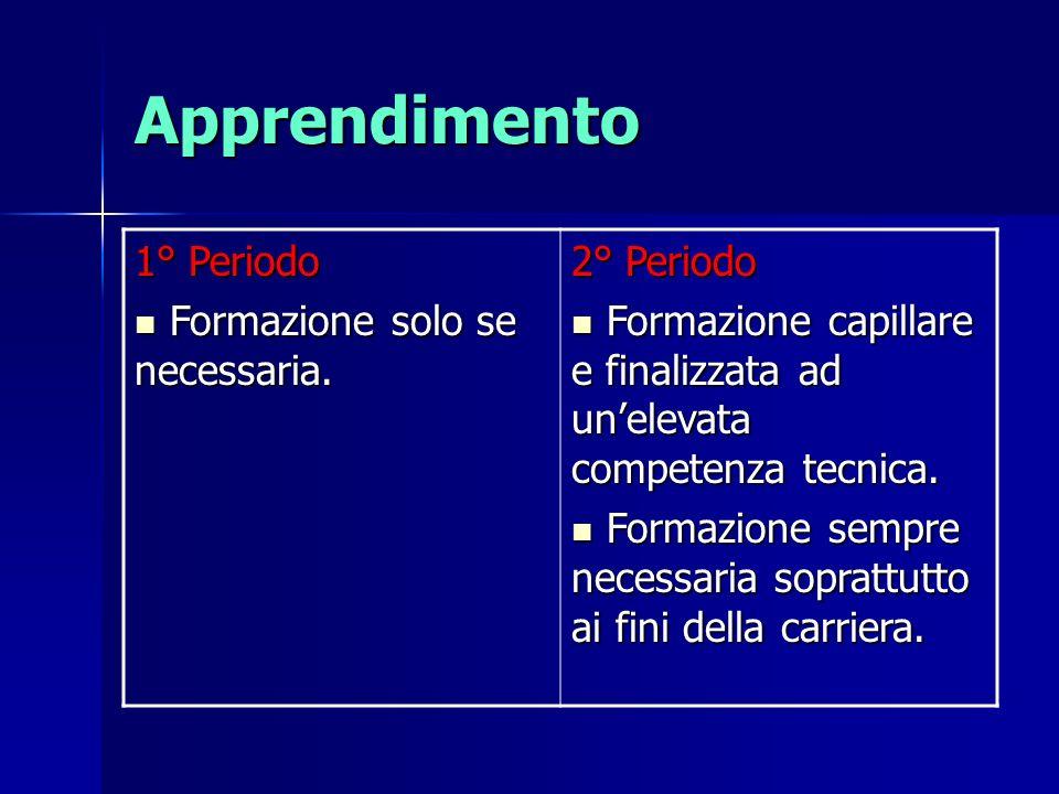 Apprendimento 1° Periodo Formazione solo se necessaria. Formazione solo se necessaria. 2° Periodo Formazione capillare e finalizzata ad unelevata comp