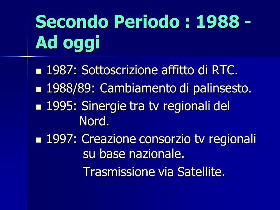 Secondo Periodo : 1988 - Ad oggi 1987: Sottoscrizione affitto di RTC. 1987: Sottoscrizione affitto di RTC. 1988/89: Cambiamento di palinsesto. 1988/89