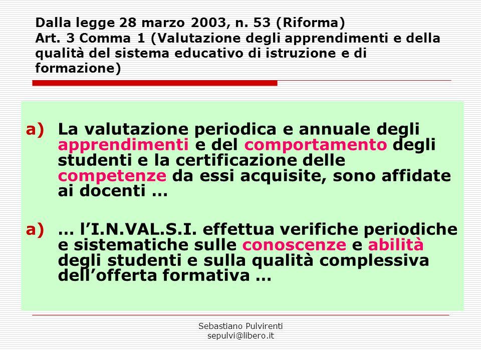 Sebastiano Pulvirenti sepulvi@libero.it a)La valutazione periodica e annuale degli apprendimenti e del comportamento degli studenti e la certificazione delle competenze da essi acquisite, sono affidate ai docenti … a)… lI.N.VAL.S.I.