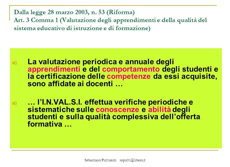 Sebastiano Pulvirenti sepulvi@libero.it a) La valutazione periodica e annuale degli apprendimenti e del comportamento degli studenti e la certificazione delle competenze da essi acquisite, sono affidate ai docenti … a) … lI.N.VAL.S.I.
