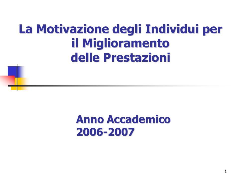 1 La Motivazione degli Individui per il Miglioramento delle Prestazioni Anno Accademico 2006-2007
