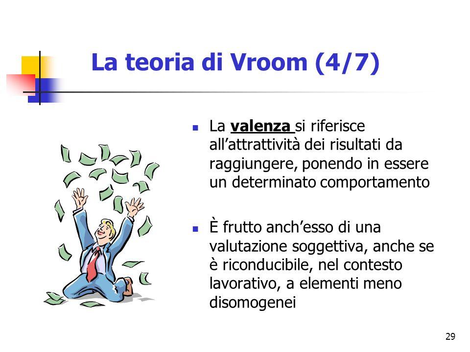 29 La valenza si riferisce allattrattività dei risultati da raggiungere, ponendo in essere un determinato comportamento È frutto anchesso di una valutazione soggettiva, anche se è riconducibile, nel contesto lavorativo, a elementi meno disomogenei La teoria di Vroom (4/7)