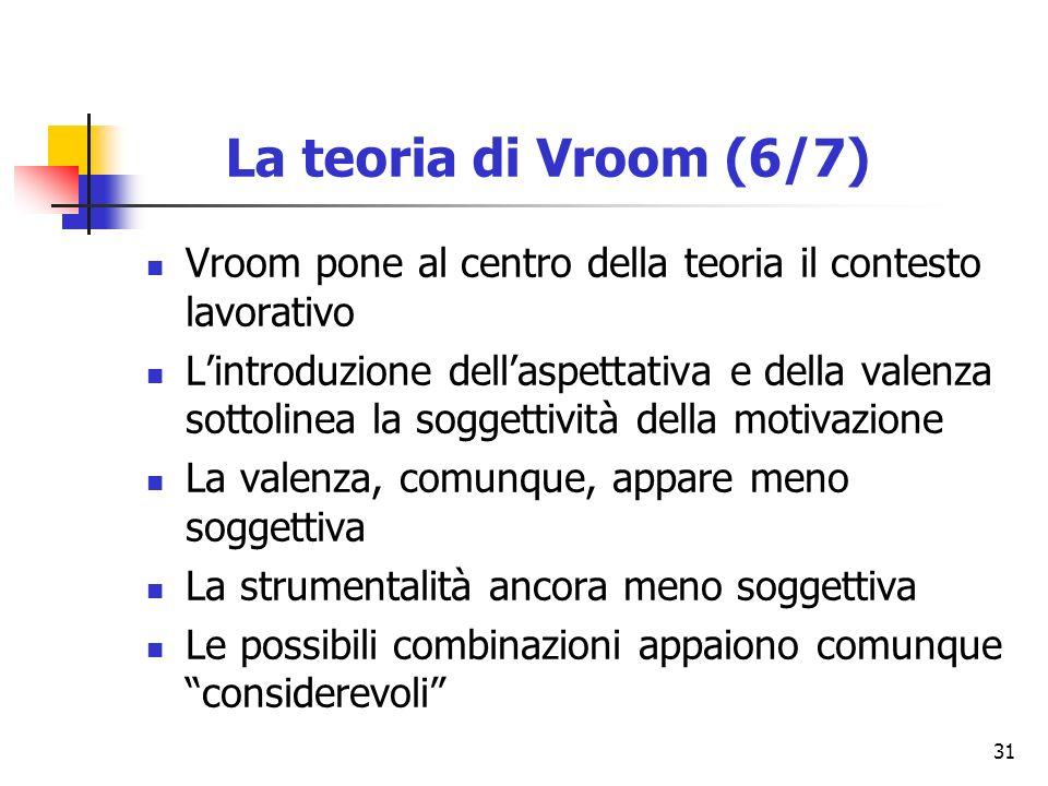 31 Vroom pone al centro della teoria il contesto lavorativo Lintroduzione dellaspettativa e della valenza sottolinea la soggettività della motivazione