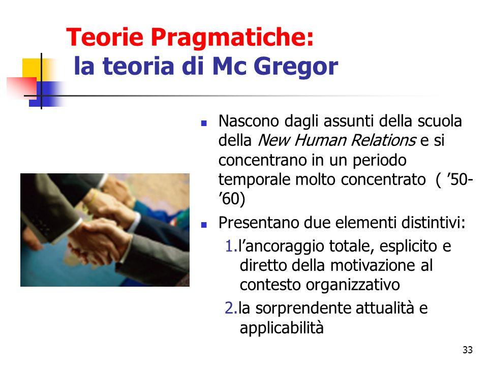 33 Teorie Pragmatiche: la teoria di Mc Gregor Nascono dagli assunti della scuola della New Human Relations e si concentrano in un periodo temporale mo