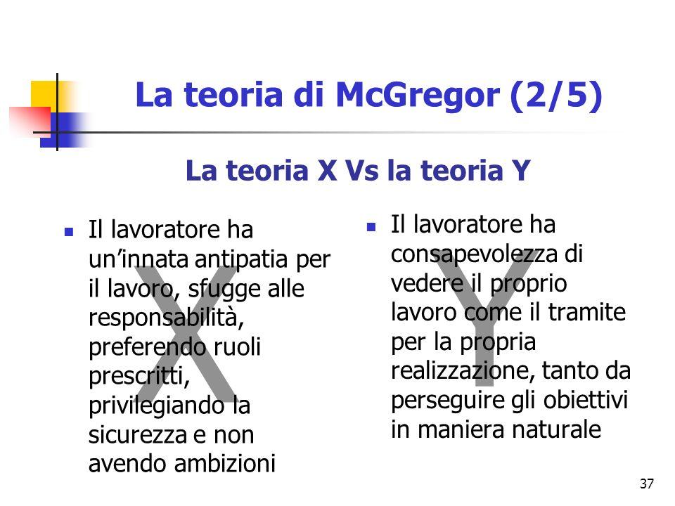 37 La teoria X Vs la teoria Y X Y Il lavoratore ha uninnata antipatia per il lavoro, sfugge alle responsabilità, preferendo ruoli prescritti, privilegiando la sicurezza e non avendo ambizioni Il lavoratore ha consapevolezza di vedere il proprio lavoro come il tramite per la propria realizzazione, tanto da perseguire gli obiettivi in maniera naturale La teoria di McGregor (2/5)