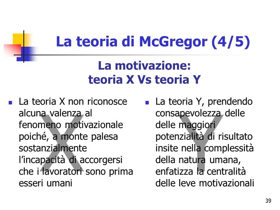 39 La motivazione: teoria X Vs teoria Y XY La teoria X non riconosce alcuna valenza al fenomeno motivazionale poiché, a monte palesa sostanzialmente lincapacità di accorgersi che i lavoratori sono prima esseri umani La teoria Y, prendendo consapevolezza delle delle maggiori potenzialità di risultato insite nella complessità della natura umana, enfatizza la centralità delle leve motivazionali La teoria di McGregor (4/5)