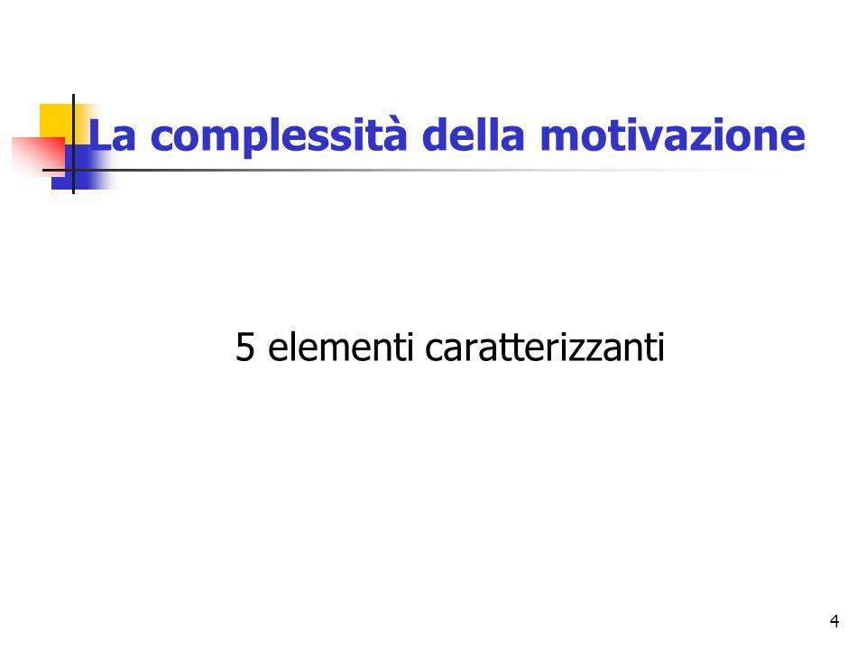 4 La complessità della motivazione 5 elementi caratterizzanti