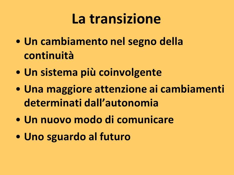 La transizione Un cambiamento nel segno della continuità Un sistema più coinvolgente Una maggiore attenzione ai cambiamenti determinati dallautonomia Un nuovo modo di comunicare Uno sguardo al futuro