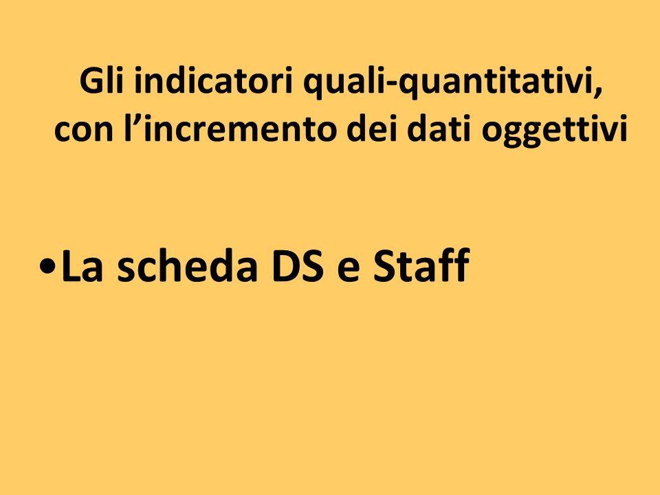Gli indicatori quali-quantitativi, con lincremento dei dati oggettivi La scheda DS e Staff
