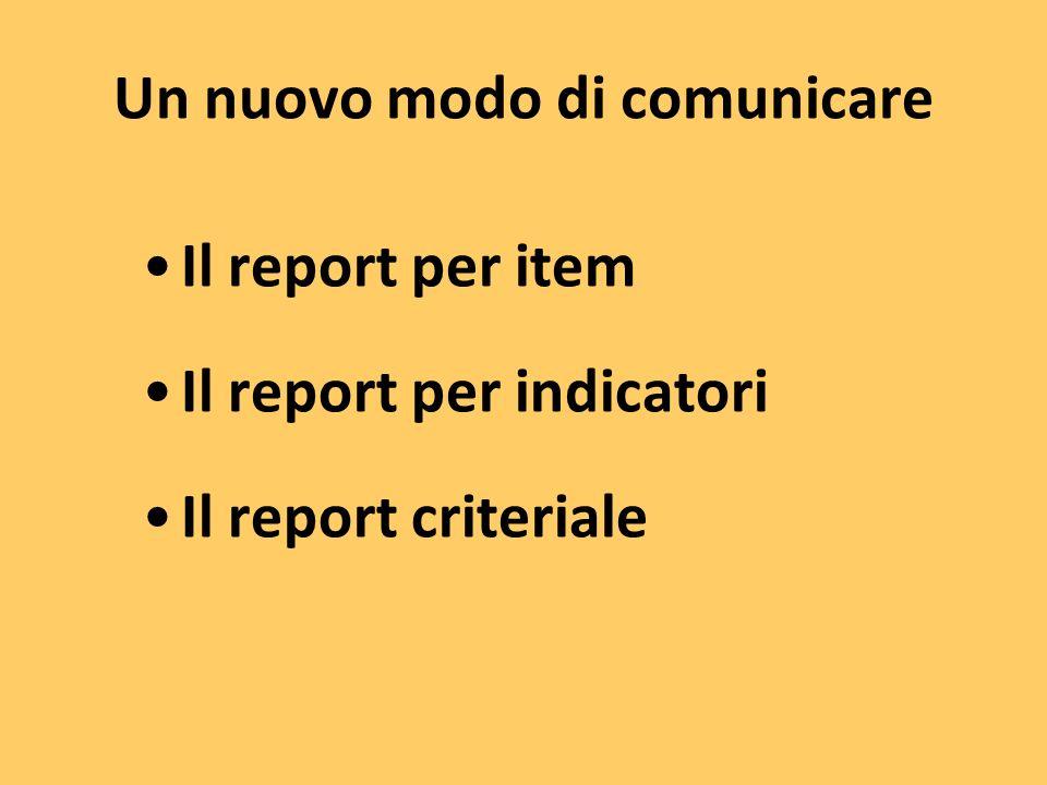 Un nuovo modo di comunicare Il report per item Il report per indicatori Il report criteriale