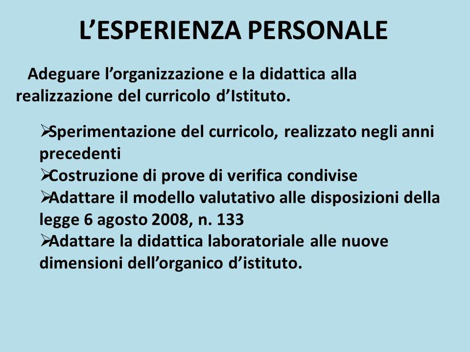 LESPERIENZA PERSONALE Adeguare lorganizzazione e la didattica alla realizzazione del curricolo dIstituto.