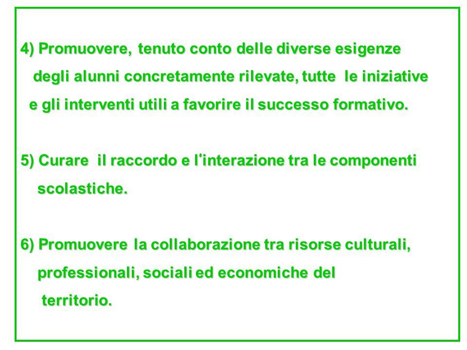 4) Promuovere, tenuto conto delle diverse esigenze degli alunni concretamente rilevate, tutte le iniziative degli alunni concretamente rilevate, tutte le iniziative e gli interventi utili a favorire il successo formativo.